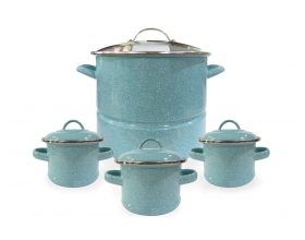 16QT STOCK POT WITH SS STEAMER + 3 SOUP POT (TURQUOISE)